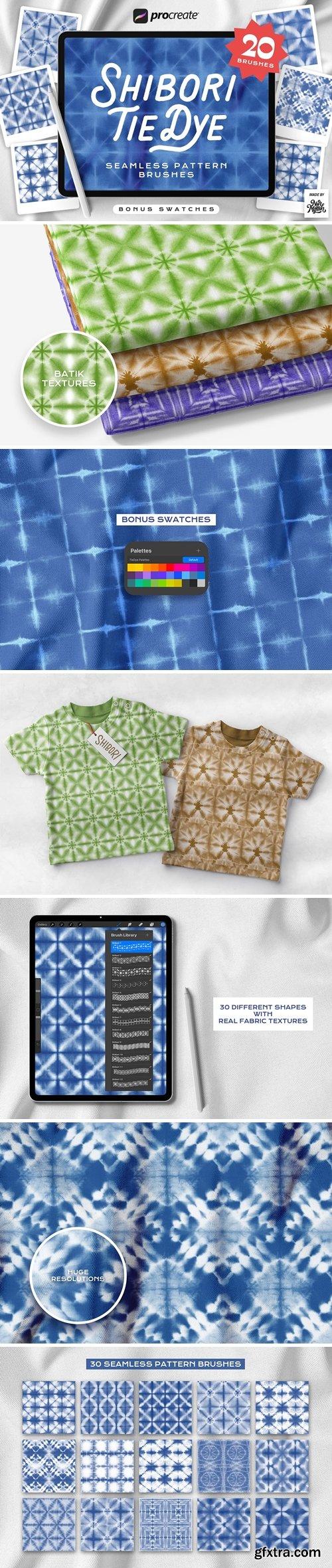 Procreate Tie Dye Shibori Seamless Pattern Brushes