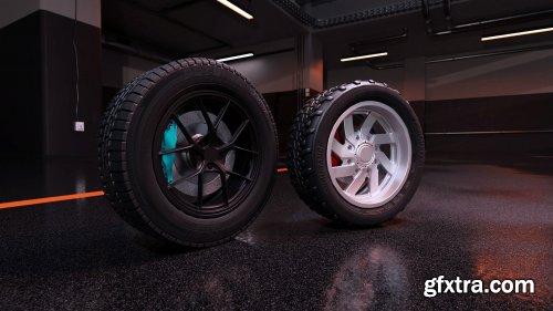 Sport modern car wheels VR / AR / low-poly 3d model