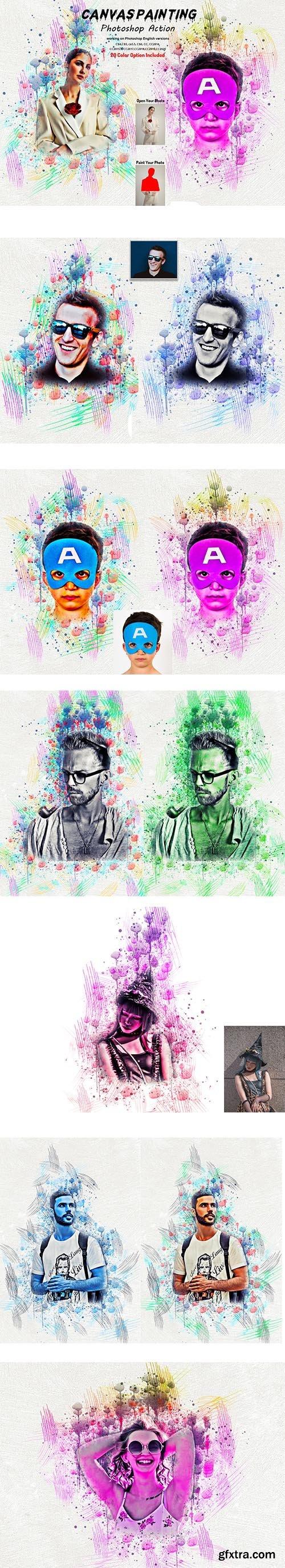 CreativeMarket - Canvas Painting Photoshop Action 5804650