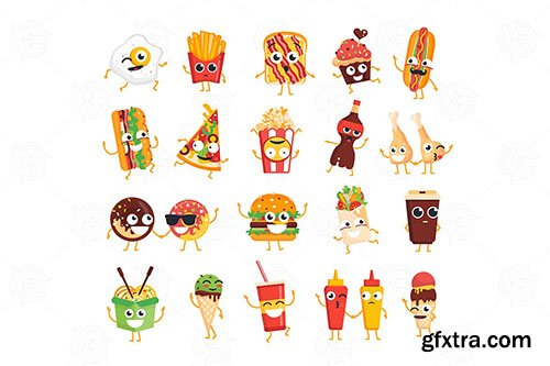 Fast Food - vector set of characters