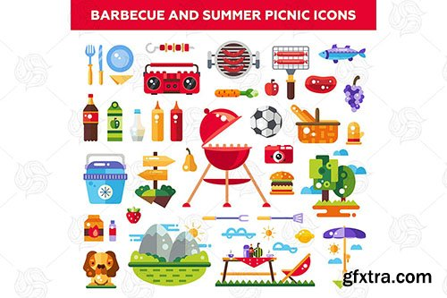Barbecue and summer picnic - flat design icons
