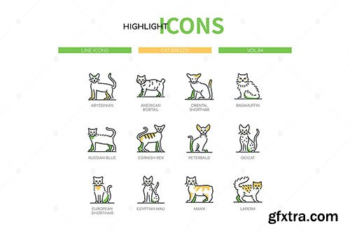 Cat Breeds - modern line design style icons