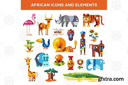 Africa - Flat Design Style Icons Set