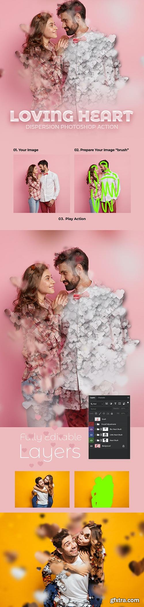 GraphicRiver - Loving Heart Dispersion Photoshop Action 30404701
