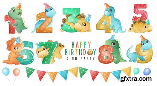 Cute little dinosaur with numbering birthday party collection
