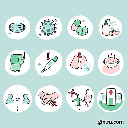 Protect yourself from coronavirus pandemic icon set