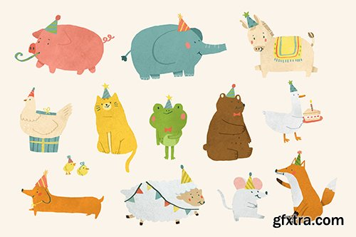 Animal party doodle design