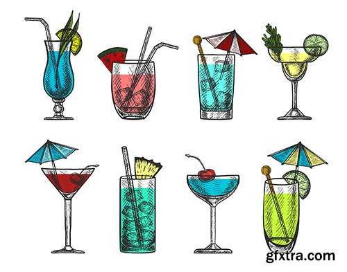 Vector hand-drawn colorful cocktail collection