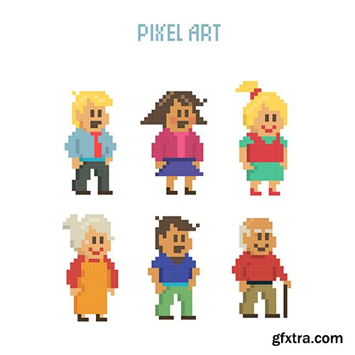 Set pixelated characters