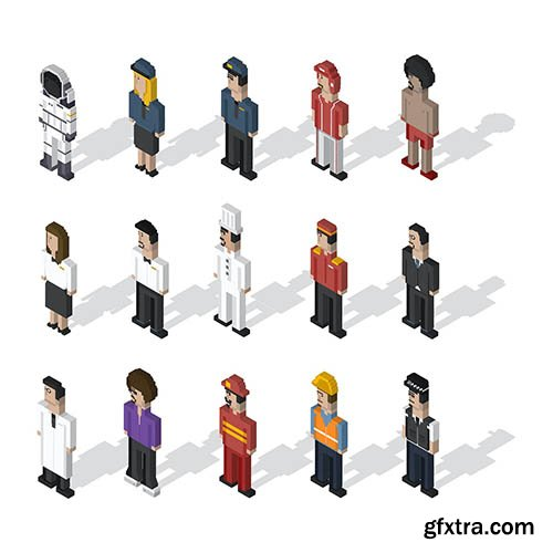 Pixel people illustration