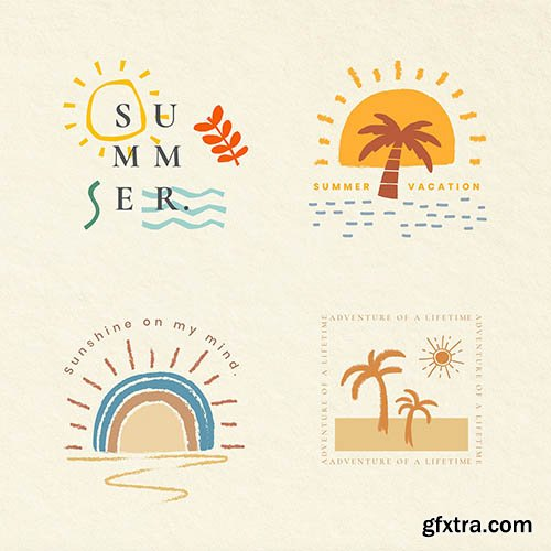 Summer vacation colorful badges vector t-shirt print design elements collection