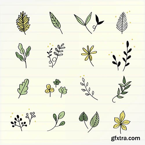 Various leaves doodle collection vector
