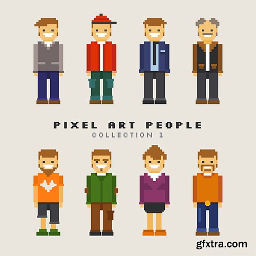 Assortment pixelated men