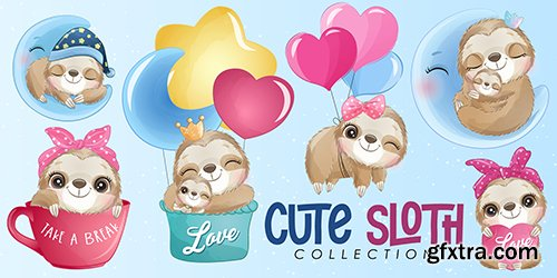 Cute little sloth watercolor illustrations