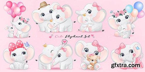 Cute little elephant watercolor illustrations
