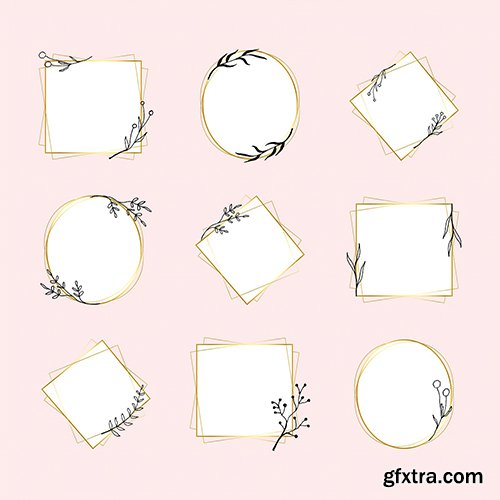 Gold geometric frame vector set in minimal flower doodle style
