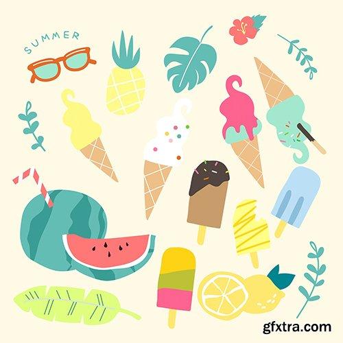 Colorful fun summer collection vector
