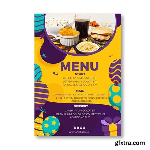 Childrens birthday restaurant menu template