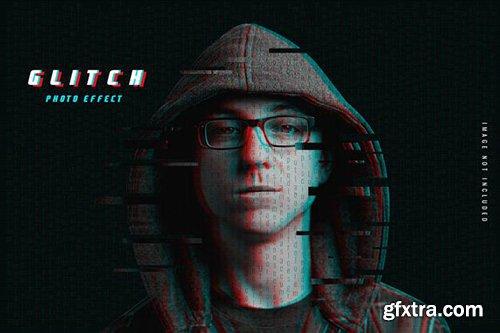 Glitch photo effect template