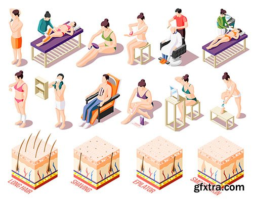 People doing epilation salon home isometric icons set