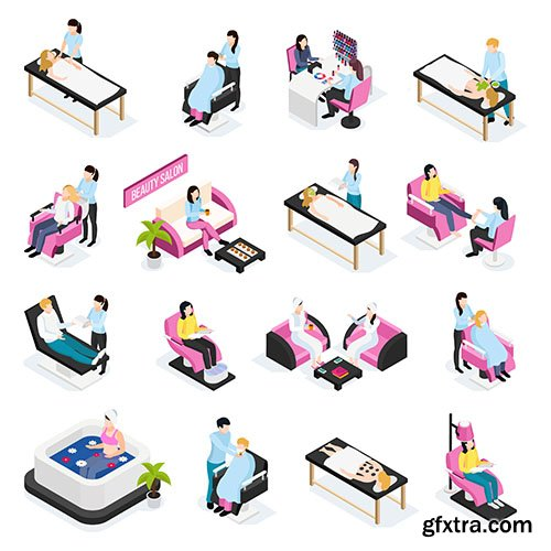 Beauty salon isometric icons