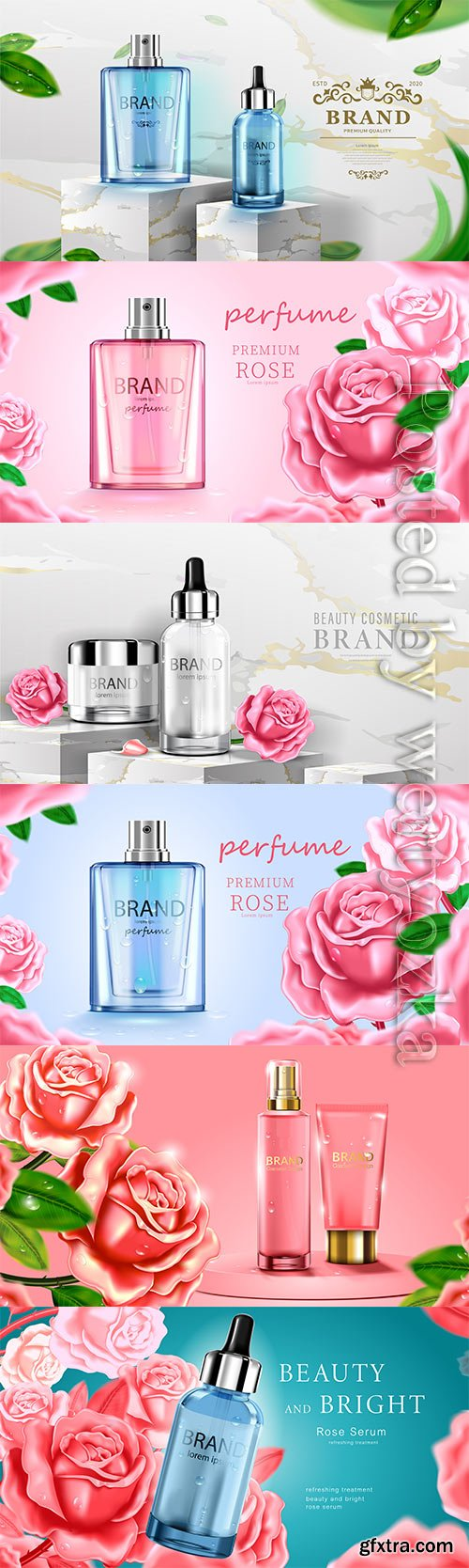 Luxury cosmetic bottle package skin care cream, beauty cosmetic product poster