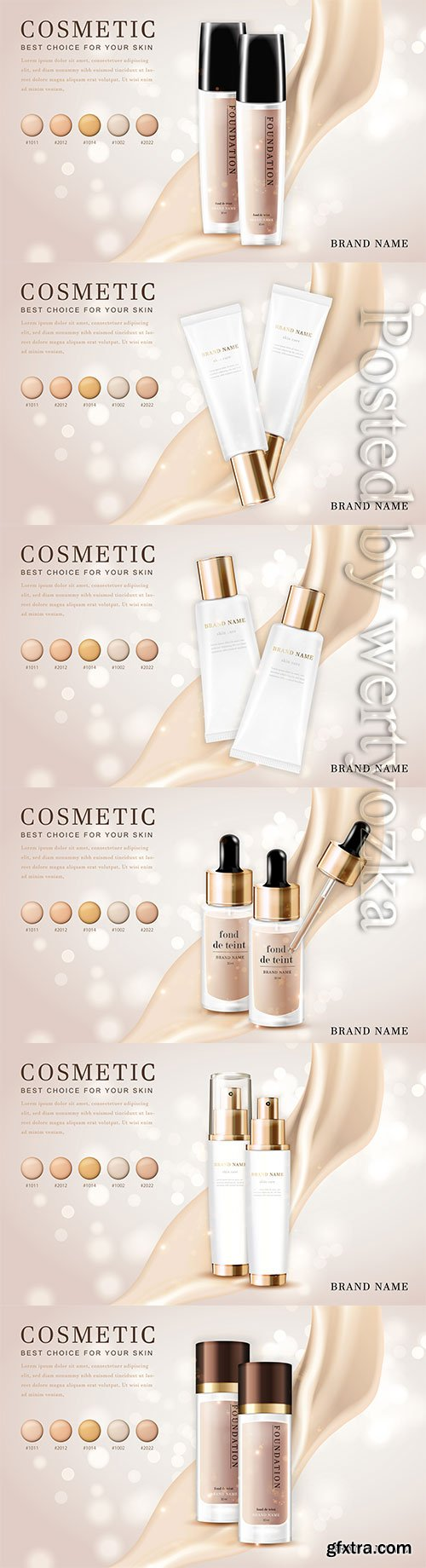 3d cosmetic make up illustration foundation product bottle with creamy