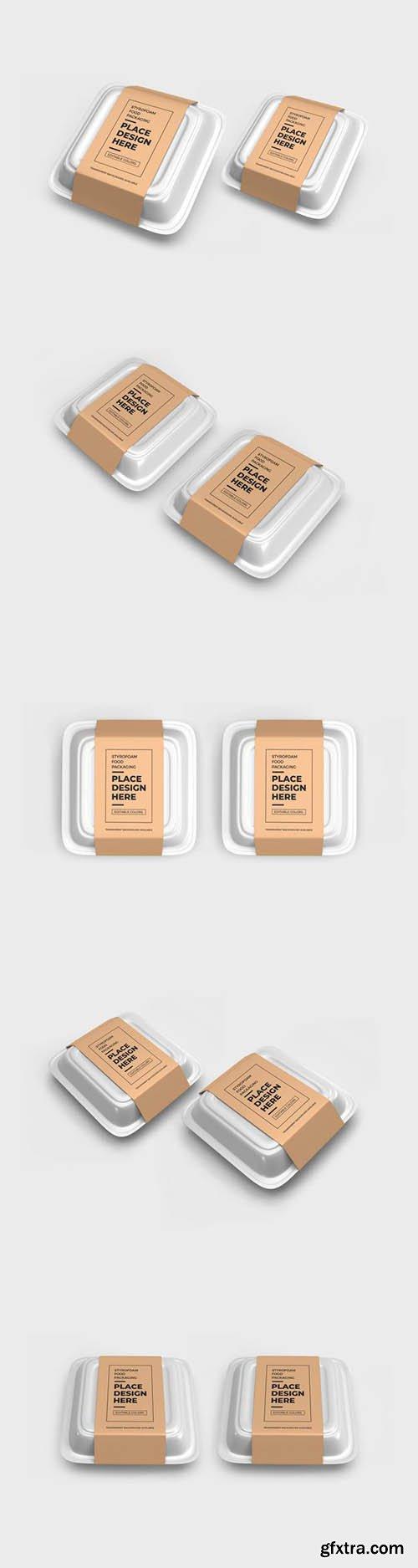 Styrofoam food box packaging mockup