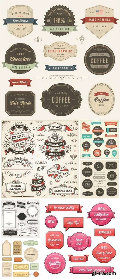 Vintage labels, ribbons and stickers in vector