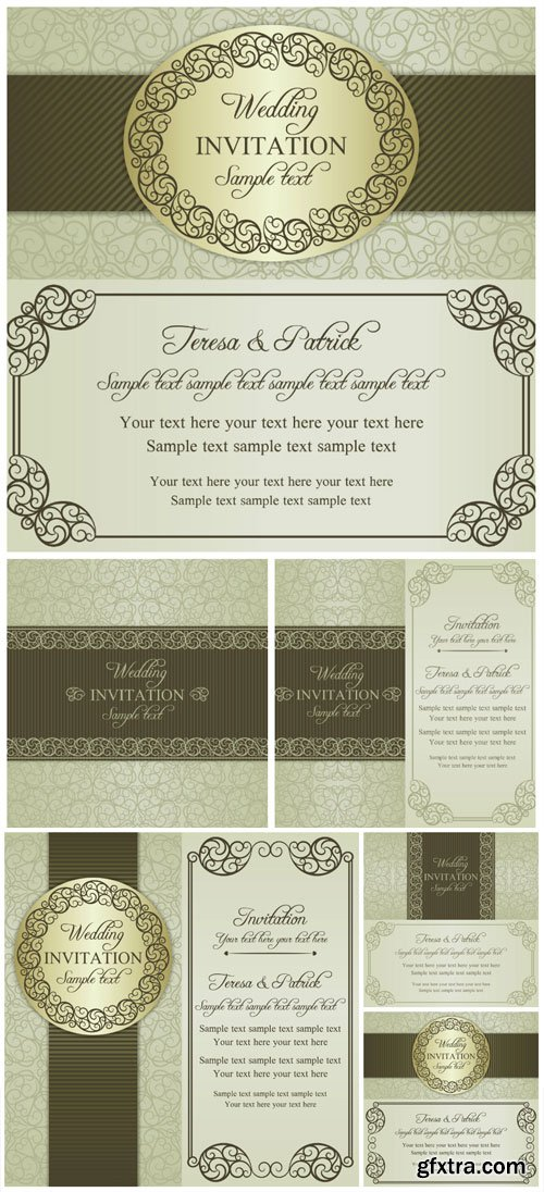 Wedding vector invitation cards in vintage style