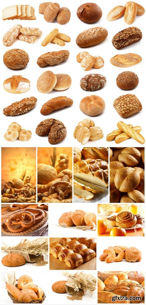 Bread, flour products, baked goods stock photo