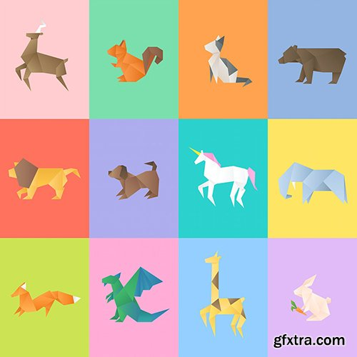 Geometric animals vector paper craft cut out set