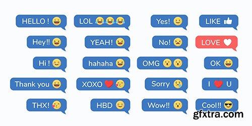 Social media emoji in speech bubbles vector set