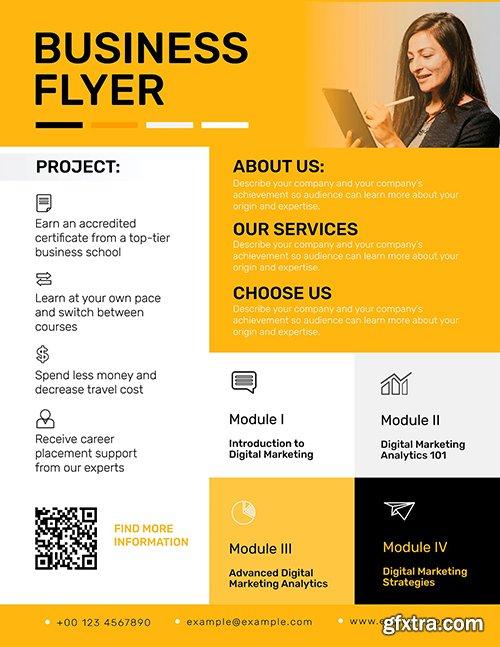 Editable business flyer template vector in yellow modern design