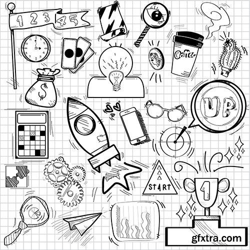 Doodles of aspiration and achievement symbols