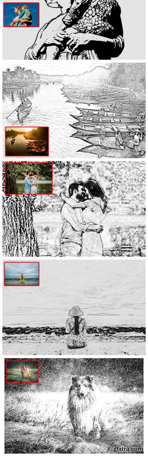 The 21 Sketch Canvas Photoshop Actions 9697427