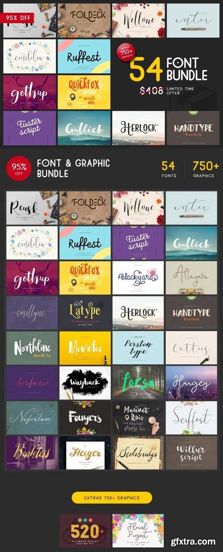 54 Font & 750+ Graphic Bundle