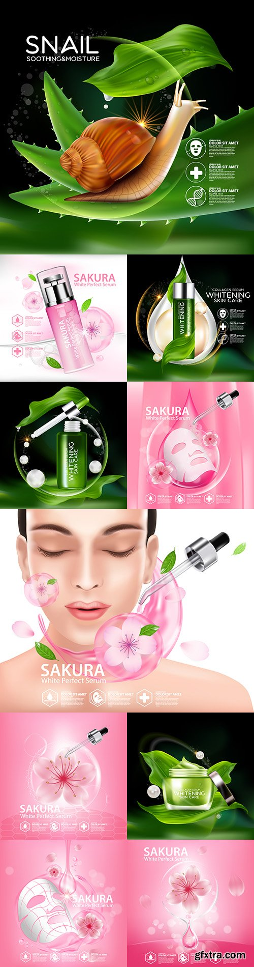 Skin care cosmetics with natural ingredients is realistic illustration