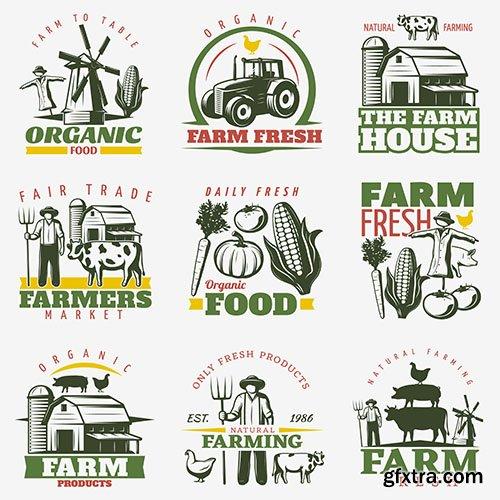 Colorful farm emblems set