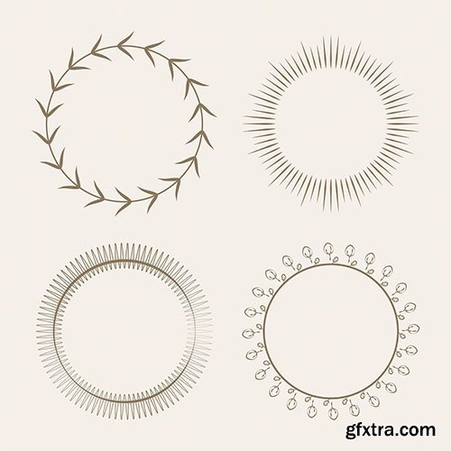 Collection of round ornament design vector