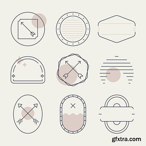 Badges vectors collection on a beige background