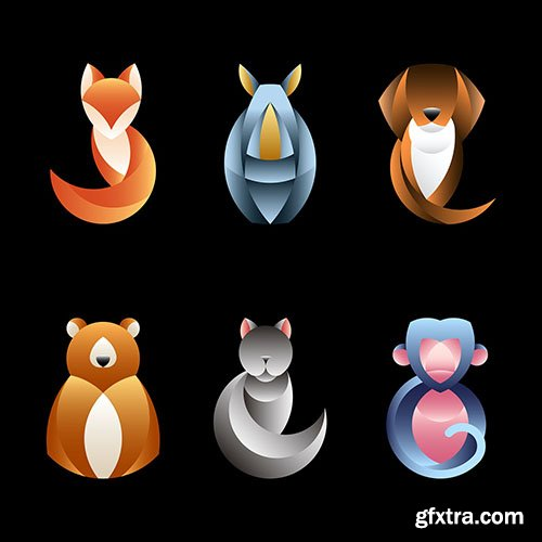 Set of geometrical animal design vectors