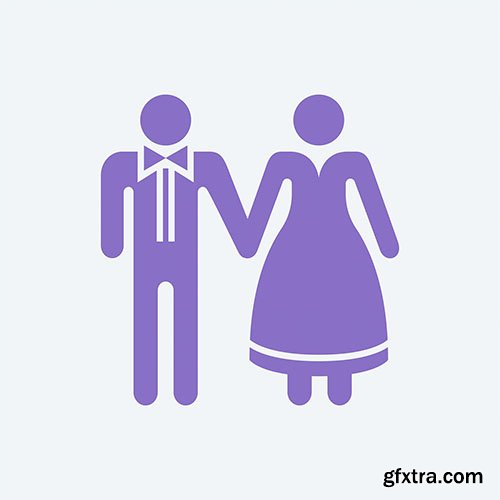 Bride and groom holding hands graphic illustration
