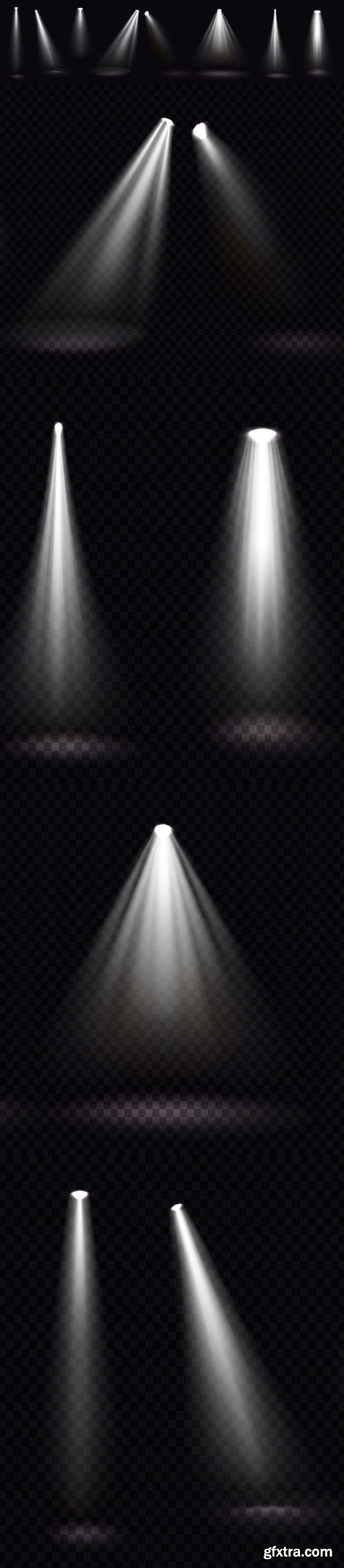 Glowing White Spotlight Design Vector Elements