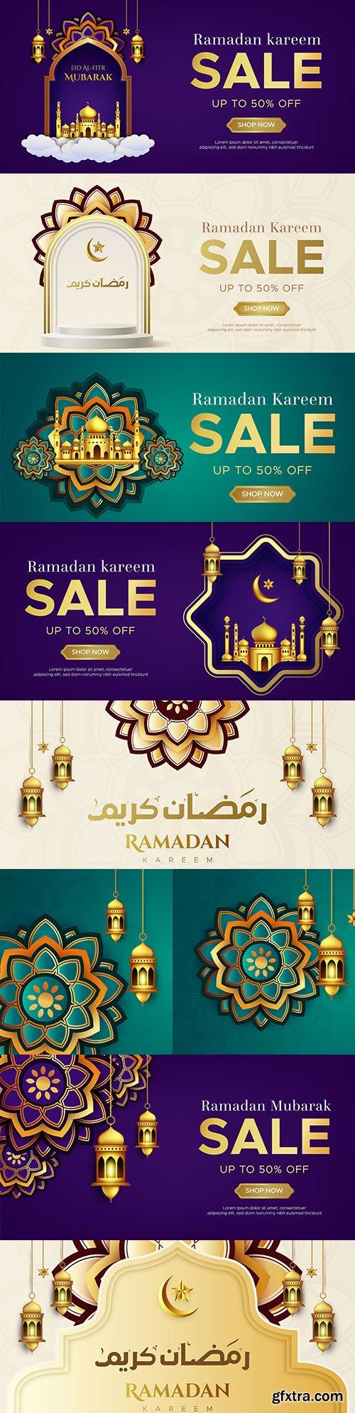 Ramadan Kareem sale banner web design template
