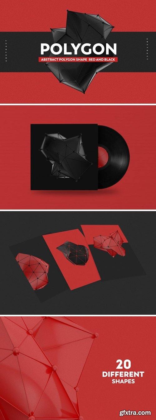 Abstract Polygon Shape Red And black