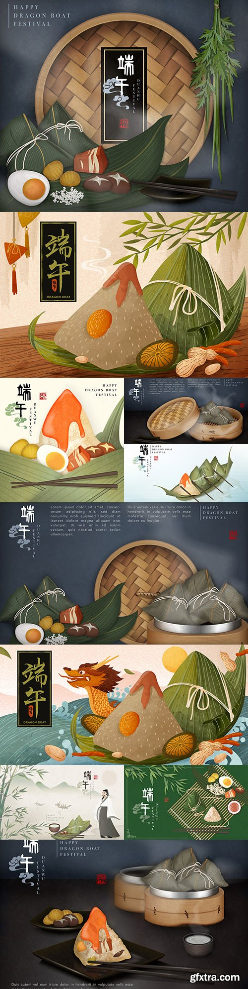 Happy dragon boat festival template with traditional food