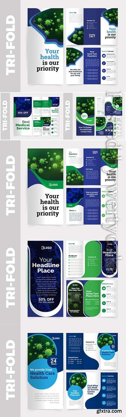 Medical tri-fold brochure design vector template