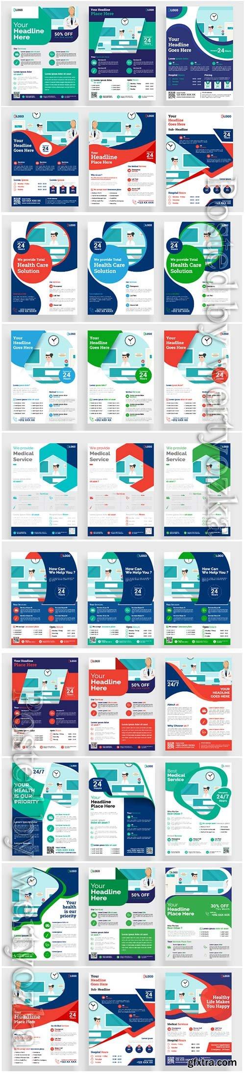 Medical flyer vector poster, brochure cover design layout background