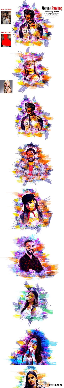 CreativeMarket - Acrylic Painting Photoshop Action 6011812